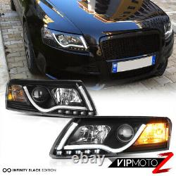 05-08 AUDI A6 Black Projector Headlight Lamp+LED SMD Daytime Driving Lamps Pair