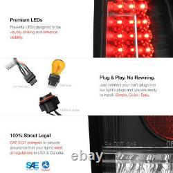 2003-2006 Chevy Silverado 1500 2500 3500 C-SHAPE Black LED Rear Tail Lights Lamp