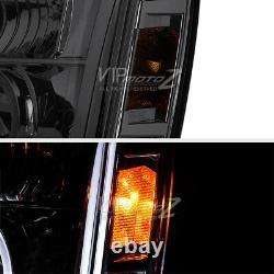 2007-2013 Gmc Yukon Denali Left+Right Pair Smoke Halo Projector Headlight Lamps