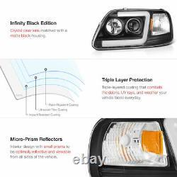 97-03 Ford F150 Neon Tube LED DRL U-Bar Black Projector Headlight Signal Lamp
