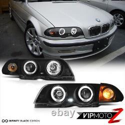 99-01 BMW E46 320/323/325/328/330 4DR Sedan Black Dual Halo Projector Head Lamp