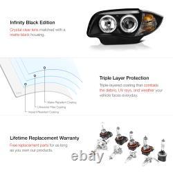 BLACK LED Halo Angel Eye Projector Headlights For 08-13 BMW 128i 135i L+R Pair