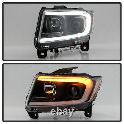 Black Clear Projector Headlight LED Switchback For 11-13 Jeep Grand Cherokee WK2