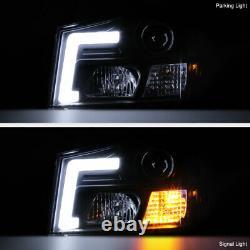 Black Projector Head Lamp C-Shape LED Light Tube For 04-15 Titan 04-07 Armada