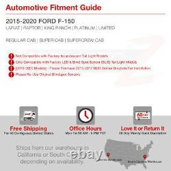 Black Smoke For 15-20 Ford F150 withBlind Spot Sensor LED Tail Light Brake Lamp