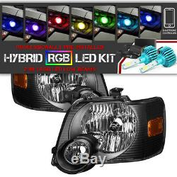 Bluetooth RGB LED Bulb06-10 Ford Explorer Black Replacement Headlight Assembly