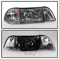 Bluetooth RGB LED Bulb87-93 Ford Mustang Chrome Replacement Headlight Assembly
