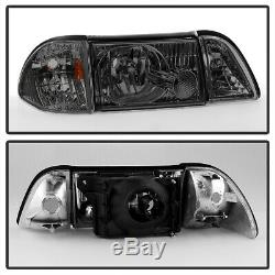 Bluetooth RGB LED Bulb87-93 Ford Mustang Smoked Replacement Headlight Assembly