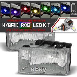 Bluetooth RGB LED Bulb91-96 Dodge Dakota Chrome Replacement Headlight Assembly
