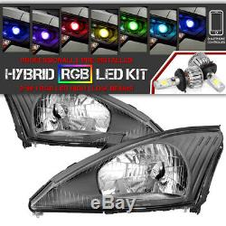 Bluetooth RGB LED Bulbs 00-04 Ford Focus Black Replacement Headlight Assembly