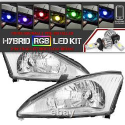 Bluetooth RGB LED Bulbs 00-04 Ford Focus Chrome Replacement Headlight Assembly
