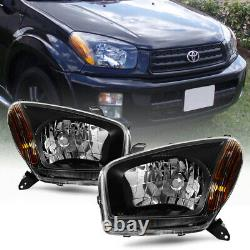 Bluetooth RGB LED For 01-03 Toyota Rav4 Black Replacement Headlight Assembly