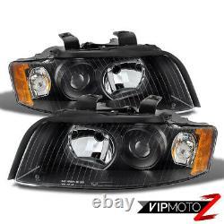 For 02-05 Audi A4 S4 B6 Sedan Wagon 1.8 3.0 Quattro Black Headlight LEFT+RIGHT