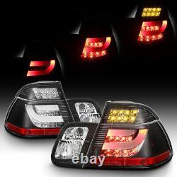 For 02-05 BMW E46 3-Series 4DR Tail Light Black LED BAR STRIP Signal Brake Pair
