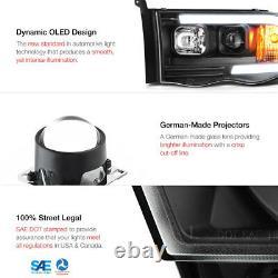 For 02-05 Dodge RAM Pickup 1500 2500 3500 Black LED Neon Bar Projector Headlight