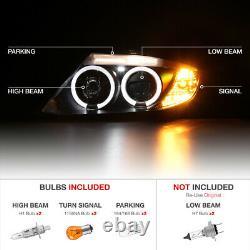 For 03-08 BMW Z4 M-Power Black Dual LED Angel Eye Halo Projector Headlight Lamp