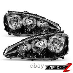 For 05 06 Acura RSX Type S DC5 JDM BLACK Front Headlights Assembly LEFT RIGHT