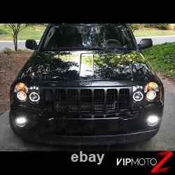 For 05-07 Jeep Grand Cherokee WK Black LED Halo Projector Headlight Signal Lamp