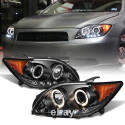 For 05-07 Scion TC TRD Style Black Halo LED Projector Headlight Lamp Assembly