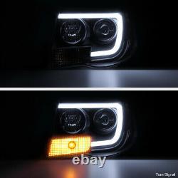 For 05-11 Toyota Tacoma Black Housing Smoke Lens LED Tube Projector Headlight