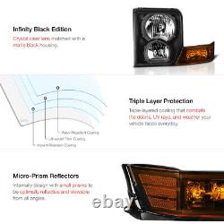 For 06-10 Jeep Commander SUV Black Amber Front LEFT RIGHT Headlights Assembly