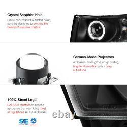 For 07-13 Chevy Silverado 1500 2500 3500 Black LED Halo Lamp Projector Headlight