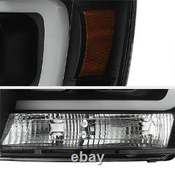 For 07-14 Chevy Suburban/Tahoe Black LED NEON TUBE DRL Projector Headlight Lamp