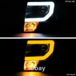 For 09-14 Ford F150 BLACK SwitchBack LED Neon Tube Halo DRL Projector Headlight