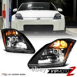 For 2003 2004 2005 Nissan 350Z VQ35 Black FACTORY XENON Headlight Assembly Set