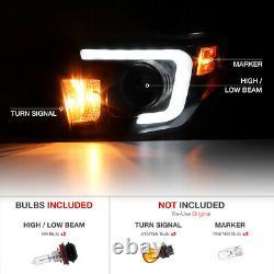 For 2014-17 Toyota Tundra TRD STYLE FIBER OPTIC LED Black Projector Headlights