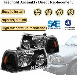 For Ford Ranger 2001-2011 HeadLights Assembly Replacement Black Housing LH+RH