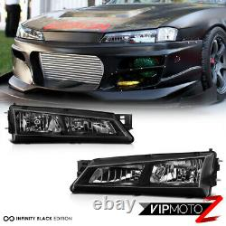 For Nissan 240SX S14 97-98 Black Crystal Headlight JDM Silver SR20 KA24 KOUKI