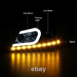 LED STRIP Black Projector Headlamps Headlights L+R For 12-14 W204 M-Benz C-Class