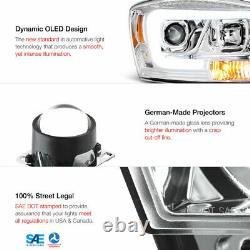 OLED TUBE 06-08 Dodge RAM 1500 Chrome LED Light Bar Projector Headlights Pair