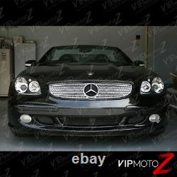 Pair LH+RH Dual Halo Projector Black Headlight Lamps For 98-04 R170 SLK M-BENZ