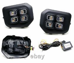 Switchback LED Fog Bezel Cover Daytime Running Light Kit For 16-21 Toyota Tacoma
