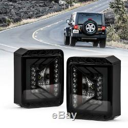 Xprite LED Tail Light Brake Conversion Kit Smoke Lens For Jeep Wrangler 07-18 JK