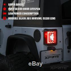 Xprite LED Taillights with Clear Len Running Reverse for 07-18 Jeep Wrangler JK
