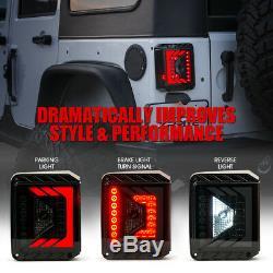 Xprite Rear Brake Smoke Len LED Taillights For 2007 2018 Jeep Wrangler JK JKU