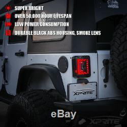 Xprite Rear Brake Smoke Lens LED Taillight For 2007 2018 Jeep Wrangler JK JKU